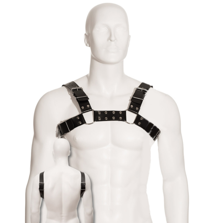 LEATHER BODY BLACK BULL DOG HARNESS